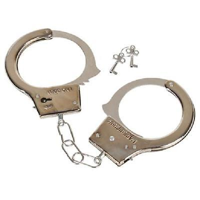 STEEL HANDCUFFS 2 Keys Metal Toy Police Cuffs Policeman #AA53 Free Shipping