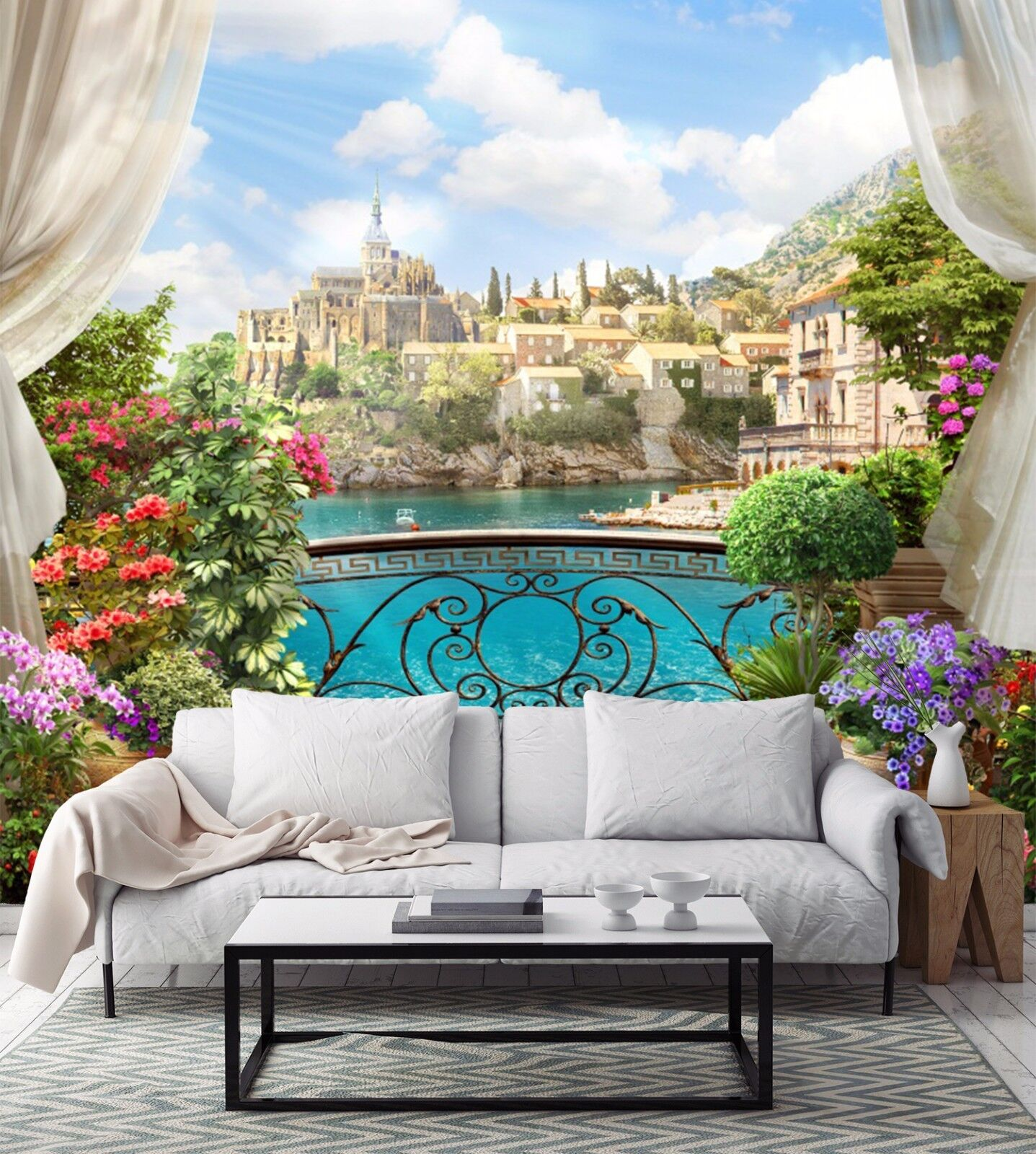 3D balcony castle scenery Wall Paper Print Decal Wall Deco Indoor wall Mural