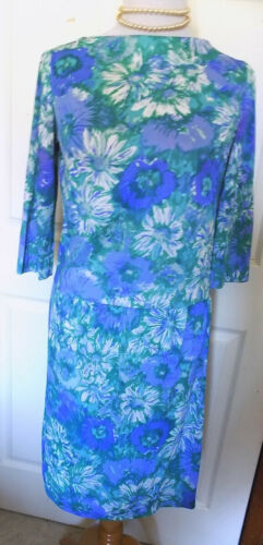 Vintage 60s Blue Floral Two Piece Skirt Set Sacon… - image 1
