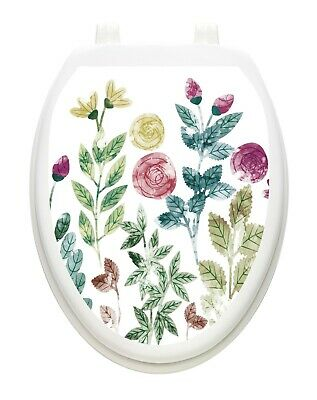 Toilet Tattoos Boho Floral Toilet Lid Cover Vinyl Cover Removable Hygienic