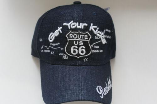 Route 66 Casquette Jeans Simili Bleu Foncé Chicago to Los Angeles
