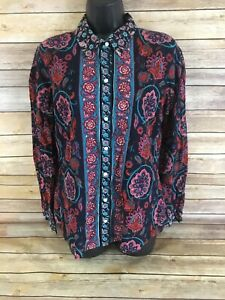 Womens-Lucky-Brand-Button-Down-Shirt-Size-Large-Blue-Floral-Long-Sleeve-Boho-Top