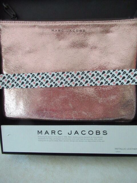 Marc Jacobs/ Target Rose Gold Tone Metallic Leather Travel/ Storage Pouch