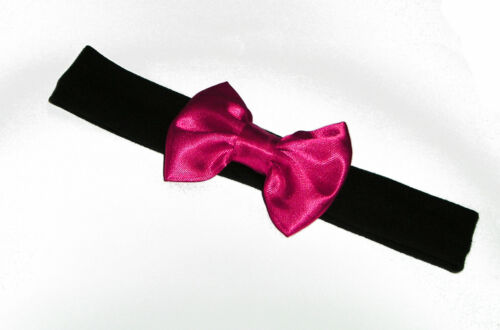Baby Black Cotton Lycra Hair Band with Satin Bow 6-36 months Colour Choice