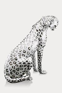 XXL-Leopardo-Ceramica-80-cm-Hecho-a-mano-de-Italia-blanco-Libertad-Brillo-Lujo