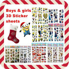BEST Stocking Fillers 3D STICKER SHEETS for boys girls kids Christmas Xmas gift