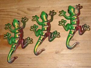 3 X Large Coloré Solide Fonte Geco Lézard Mur Hanger Crochets Rétro-chic-afficher Le Titre D'origine Bon GoûT