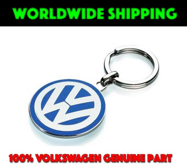 000087010C Genuine VW Double Sided Metal Keychain Blue White Enamel Keyring