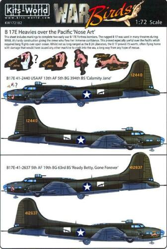 Kits World Decals 1//72 B-17E HEAVIES OVER THE PACIFIC Calamity Jane Ready Betty