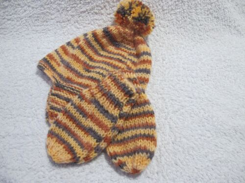 2-3 YRS NEW HAND KNITTED BABY HAT /& MITTEN SET TAUPE,RUST,GOLD   0-3MTHS