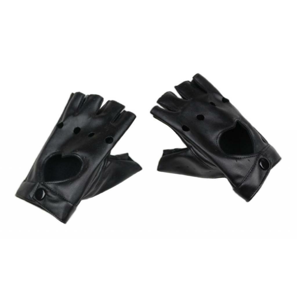 1 Pair Fashion Half Finger Gloves Lady Leather Heart Mitten Punk Gloves