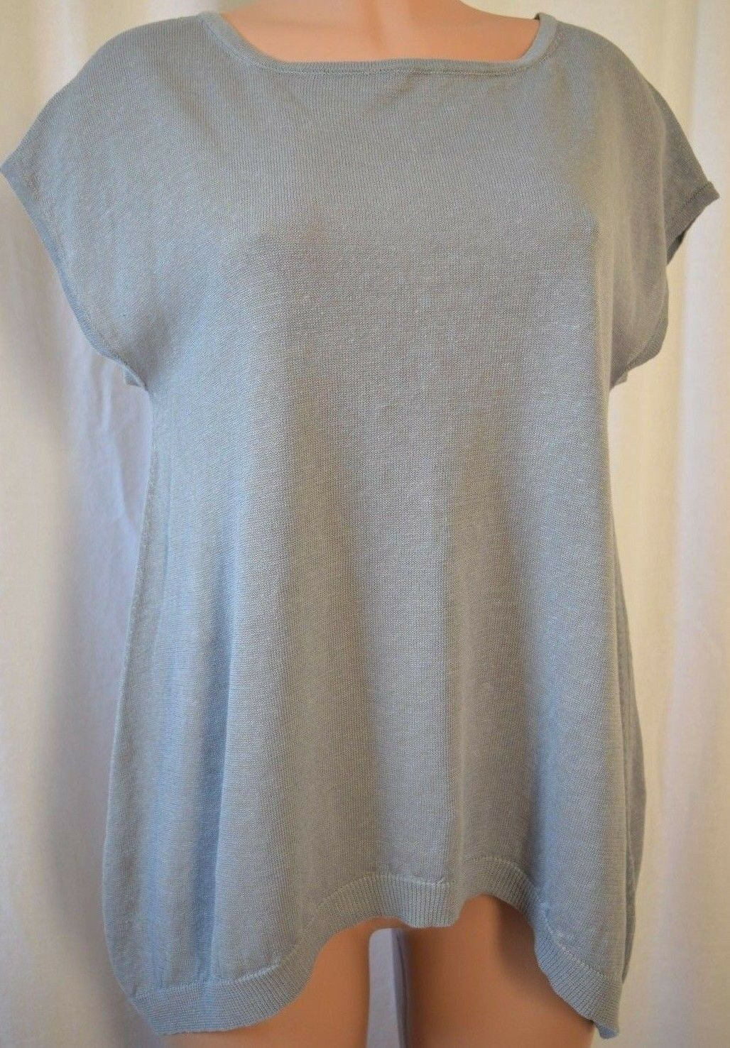 PESERICO TRICOT COTTON SHORT SLEEVES KNIT WITH TINY CHAIN APPLIQUE TOP SZ 46-48