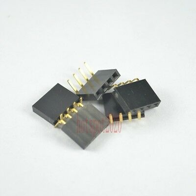 10PCS 1x4Pin 2.54mm Pitch  Header Right Angle Female Single Row Socket Connector