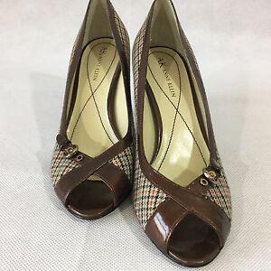 c87e2b255cb AK Anne Klein Shoes 6 1 2 Plaid Fabric Buckle Heels Pump Peep Toe ...