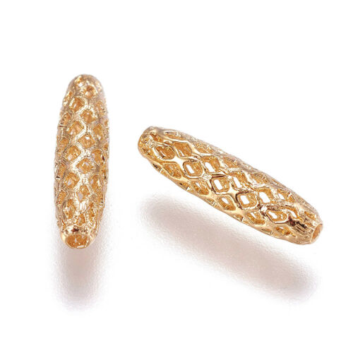 10pcs Gold Plated Brass Oval Metal Beads Filigree Hollow Loose Spacer Craft 15mm