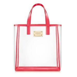 3dfdc241e163 Image is loading Michael-Kors-Tote-Bag-Clear-Red