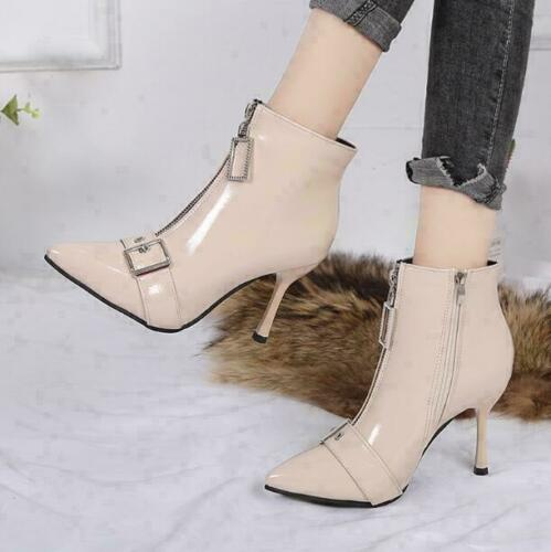 Womens Patent Leather Point Toe Buckle Strap Ankle Boots Zipper Decor High Heel