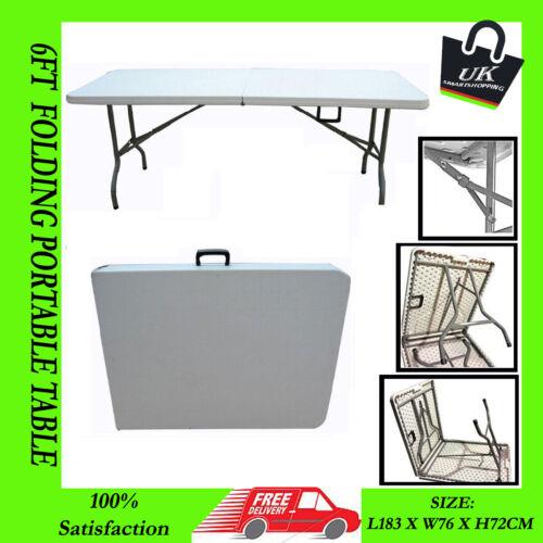 Heavy duty 6ft table plastique extérieure de la moitié pliant stand de marché coffre voiture collage