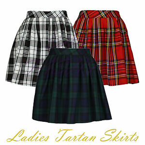 Ladies-Womens-Elasticated-Waist-Tartan-Skater-Skirt-UK-Size-8-14