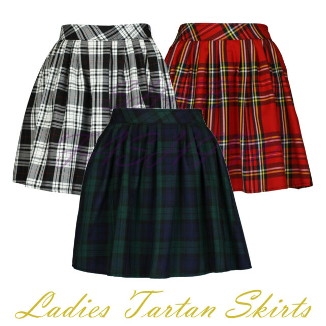 Ladies Womens Elasticated Waist Tartan Skater Skirt UK Size 6-14