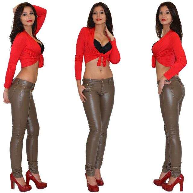 Damen Jeanshose Röhrenjeans Skinny Hüftjeans Jeans Hose in Leder Optik H1200