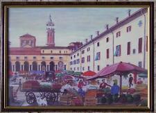 ARTE NAIF lito originale cartoncino in piazza al mercato dipinto Arturo Stucchi