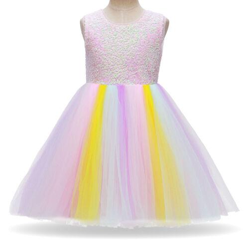 Unicorn Tutu Fancy Dress Girls Halloween Cosplay Costume for Birthday Party Gown