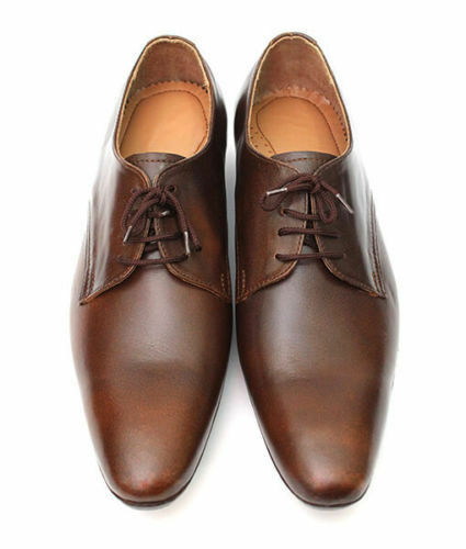 MEN NEU HANDMADE REAL LEATHER Schuhe DARK BROWN OXFORD DESIGN FORMAL Schuhe
