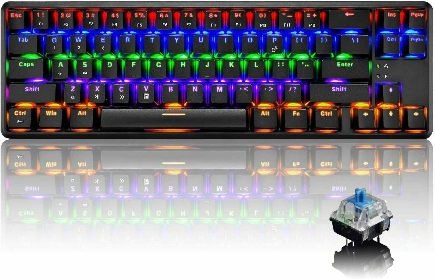 Rechargeable Bluetooth Wired/Wireless Dual-mode 60% Mechanical Gaming Keyboard