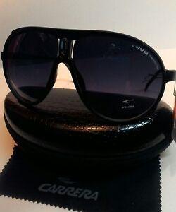 Carrera-Men-amp-Women-039-s-Matte-Black-Retro-Sunglasses-Carrera-Case-amp-Cloth