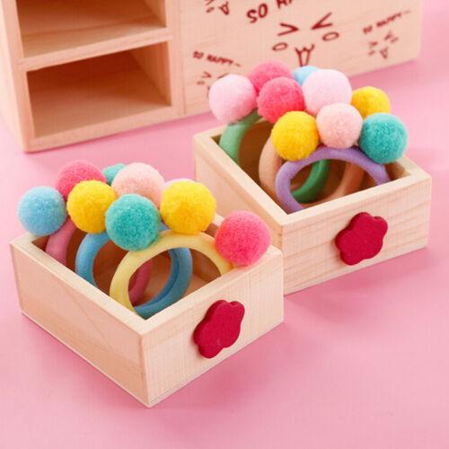 2//5//10 Pcs Cute Balls Elastic Hair Rope Ponytail Holder Headwear Random FG