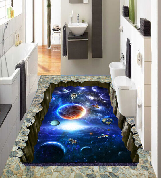 3D Blau Night Planet  Floor WallPaper Murals Wall Print Decal 5D AJ WALLPAPER