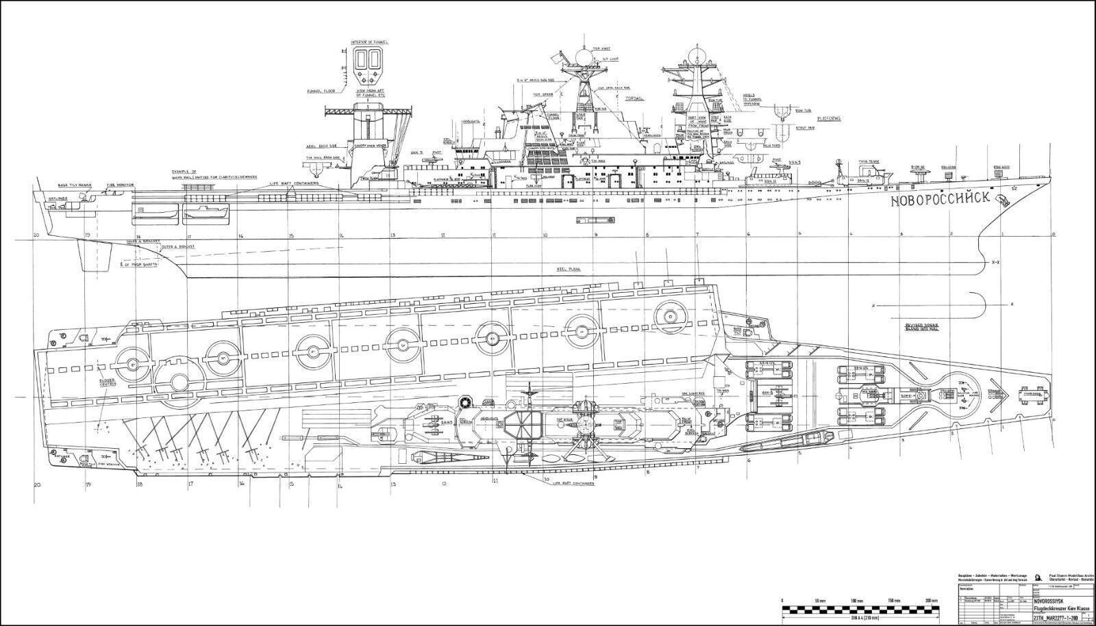 NOVgoldSSIJSK, Kreuzer der der der russischen Kiev Klasse. Modellbauplan M 1 200 41e966