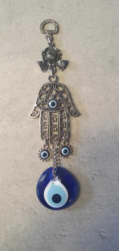 Türkei Nazar Boncuk Hand Wand Anhänger Deko Evil Eye Blau Augen Amulett 21cm