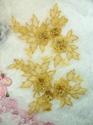 """3D Embroidered Lace Appliques Navy Floral Mirror Pair 7.5/"""" DH114"""