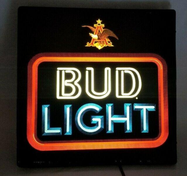 """18\"""" X 18\"""" ANHEUSER BUSCH BUD LIGHT BAR SIGN KSC INDUSTRIES"""
