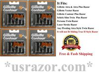 20 Gillette Contour Plus Blade Cartridge Refills Fit Atra Schick Slim Twin Razor
