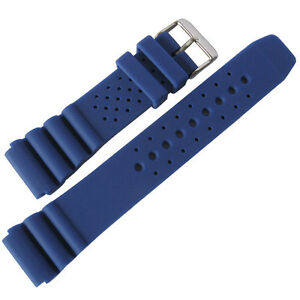 22mm deBeer 911 Mens Royal Blue Silicone Rubber Dive Watch Band ... 9fb741c1bb88