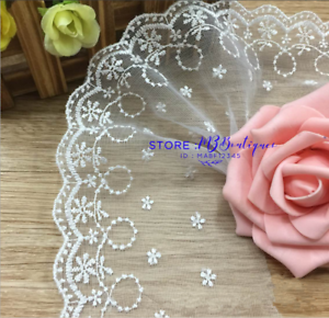 FP71 2 Yards Embroidered Tulle Lace Trim Ribbon Dress Skirt Veil Handicraft DIY