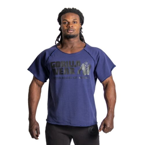 Gorilla Wear Classic Work Out Top Navy Bodybuilding Fitness
