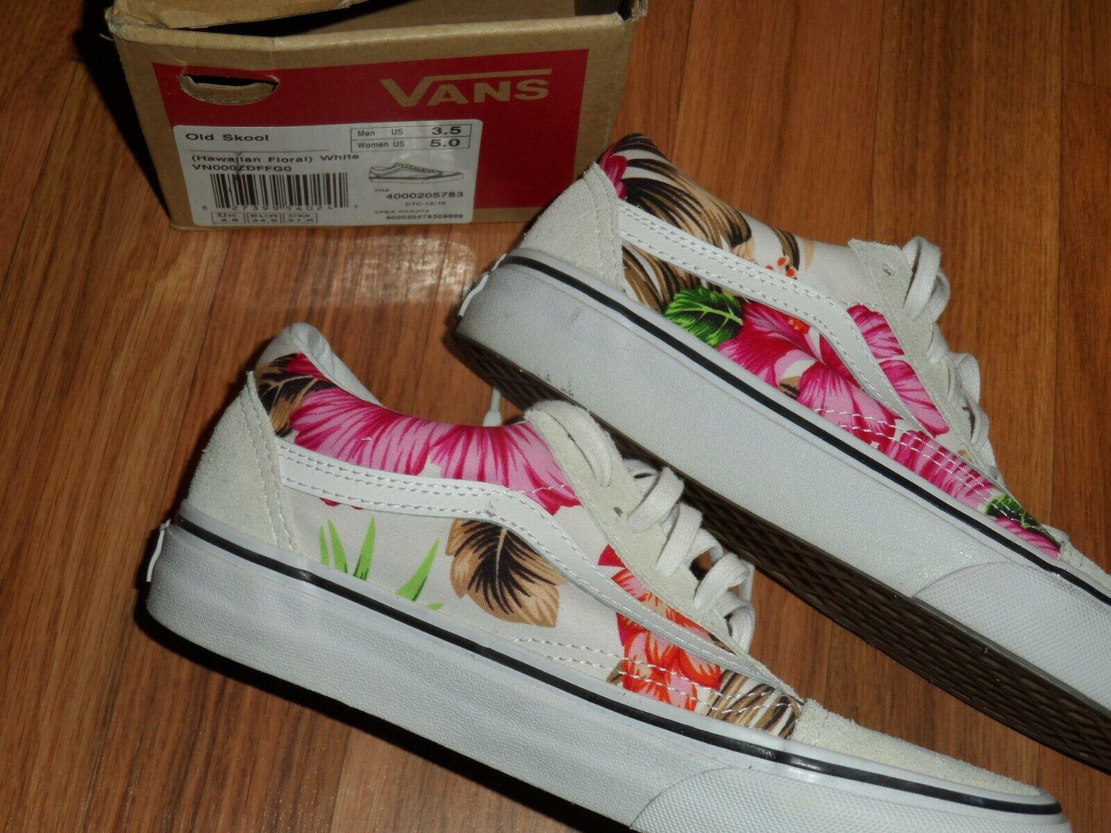 Hommes Jeunes Garçon Fille 3.5 femmes 5  Old Skool Vans chaussures Tropical Hawaïen Floral