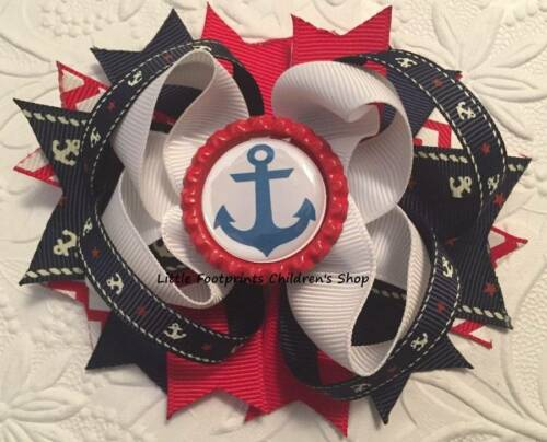 Red White Navy Nautical Anchor Bottle Cap Hair Bow 4 1//2/""