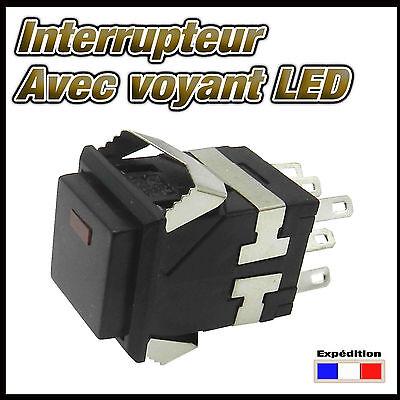 984N# interrupteur noir carré  avec LED  de 1 à 10 pcs  ON - ON switch