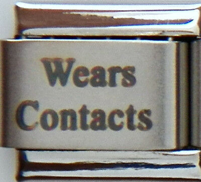 Wears Contacts Laser Medical Alert for Italian Charm Bracelets Free ID Card