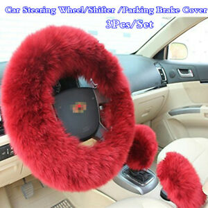 3x Long Fur Wool Protector Covers For Car Steering Wheel//Gear Knob//Parking Brake
