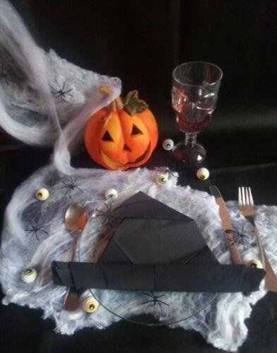 Halloween Servietten Fertig Gefaltet schwarze Hexen Hat schräg 10 Stück