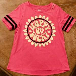 NWT-Justice-Girls-Tween-Pink-034-Happy-Go-Lucky-034-T-shirt-Sz10-034-Happy-Go-Lucky-034