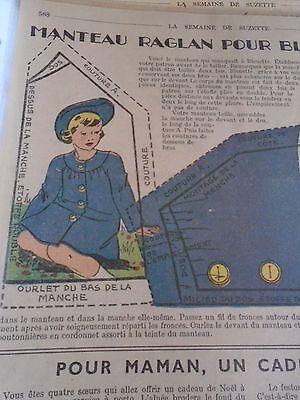 """ANCIEN PATRON POUR LA POUPEE /"""" BLEUETTE /"""" MANTEAU RAGLAN  DECEMBRE  1947"""