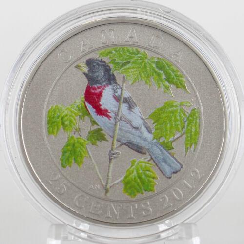 Birds of Canada #9 Color Specimen Coin 2012 25-cents Rose-breasted Grosbeak
