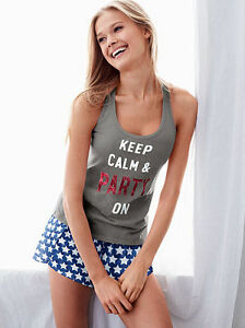 8128504d1f8 SMALL Victoria s Secret KEEP CALM PARTY ON Blue Stars Mayfair Short ...